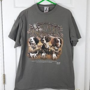 Vtg 90s Hunting Dogs Red Tail Graphic T Shirt
